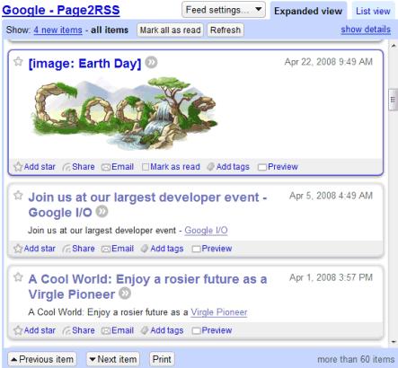 cambio en la página de google