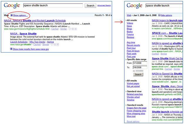 google opciones busqueda