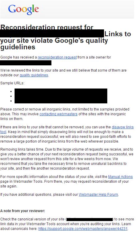 nota de peticion de reconsideracion rechazada de google