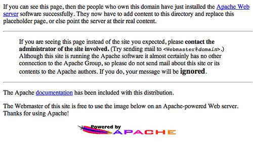 pagina de inicio apache